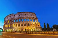 Rome Italy night city skyline at Rome Colosseum empty nobody