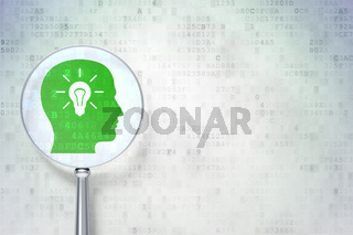 Information concept:  Head With Light Bulb with optical glass on digital background