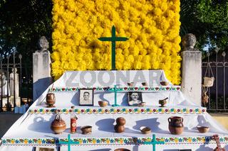 Flower altar for day of the dead, dia de los muertos, in Merida, Yucatan, Mexico