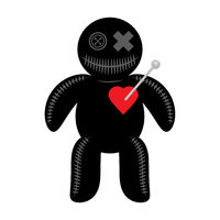 Woodoo Doll with Red Heart Isolated on White Background