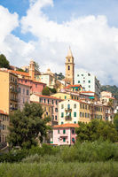 Ventimiglia village in Italy, Liguria Region, with a blue sky