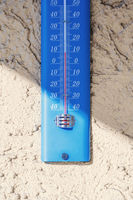 typical thermometer outside on a house wall