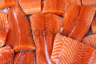 Fresh Salmon Fish Fillets on Ice