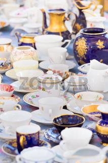Sets of vintage china cups.