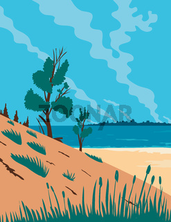 Indiana Dunes National Park  in Northwestern Indiana United States WPA Poster Art Color