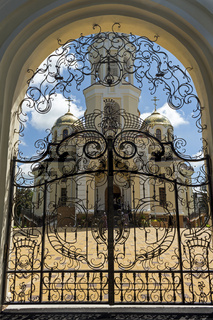 Door of russian church in Nalchik city.