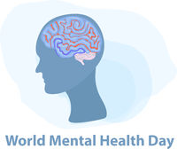 World Mental Health Day. Silhouette of a man's head with brain. Isolated on a white background. Vector illustration