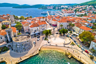 Korcula. Historic town of Korcula aerial panoramic view