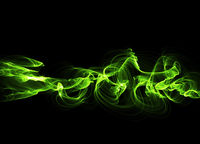illustration of Green luminous line of paricles representing a sound wave on a black abstract Futuristic digital background with copy space. Banner for your design