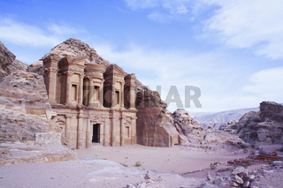 Close up of the Al-Dier Monastery of Petra