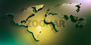 green glass 3d world map