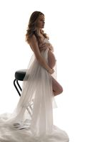 Pregnant beautiful girl full-length isolated shot