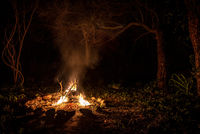 Flames of a campfire at night in a dark spooky forest surrounded by stones shaping strong shadows