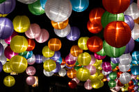 colorful lantern hanging up