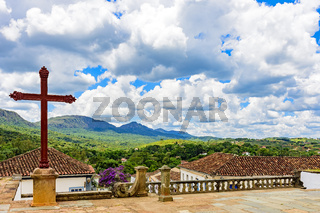 City and mountains of the historic city of Tiradentes in the state of Minas Gerais