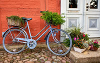 bike with decorative flower pot in front of a house