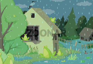 Rainy Day Frogs Cartoon