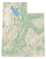 High resolution topographic map of Utah