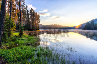 Sunrise at Shiroka Polyana Dam, Rhodope mountains, Bulgaria