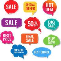 Sale Speech Bubble Set Isolated White Background Background