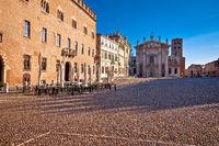 Mantova city paved Piazza Sordello idyllic square view, UNESCO world heritage site