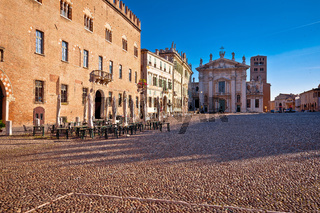 Mantova city paved Piazza Sordello idyllic square view, UNESCO world heritage site
