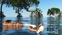 Snake in red mangroves on Florida coast 3d rendering