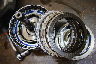 Auto gearbox parts at shallow depth of field