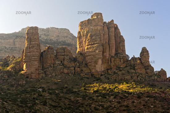 Guh pinnacle housing the rock-hewn church Abuna Yemata, Gheralta escarpment, Hawzien,Tigray,Ethiopia