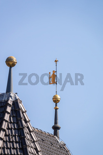 golden figure on a roof top of Calw Germany