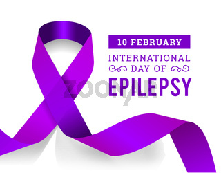 International epilepsy day with purple ribbon. Vector illustration