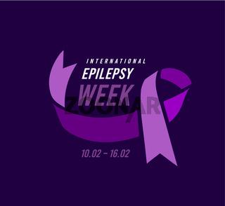 International epilepsy week with purple ribbon. Vector illustration