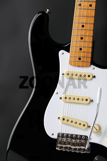 Retro black and white electric guitar body