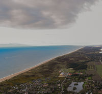 Aerial view of the North Sea coast and the island of Sylt