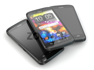 Three mobile phone. 3d