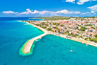 Town of Novalja beach and waterfront on Pag island aerial view