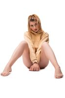 Slim female model in panties and hood