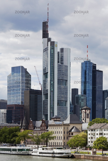 City view with Main and financial district, Frankfurt am Main, Hesse, Germany, Europe