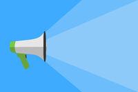 megaphone against blue background, announcement template