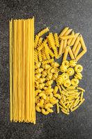 Various types of raw italian pasta.