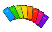 Rainbow colorful smartphone set isolated on white. 3D render