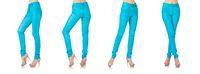 Woman legs in blue trousers