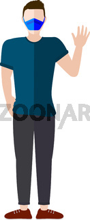 Man Waving With Mask Vector
