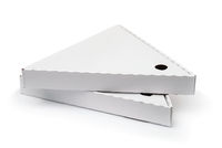 Two triangle packaging pizza boxes