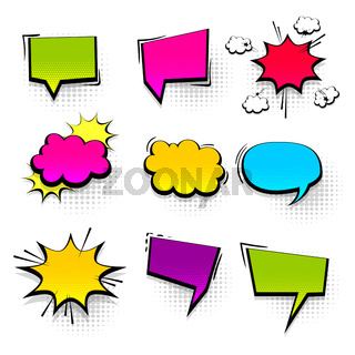 Colored peech bubble for comic text isolated background