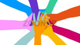 Viele gestapelte Hände als Zusammenhalt Konzept