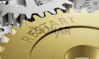 Metal gear wheels with the engraving Restart - 3d render