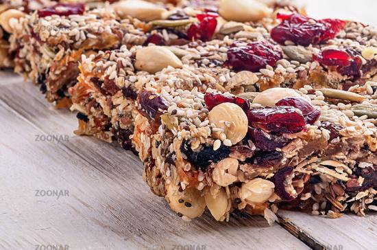 Closeup cereal granola bar with nuts