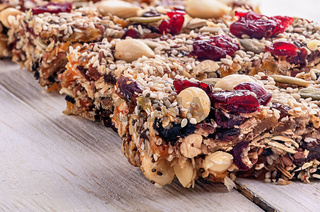Closeup cereal granola bar with nuts