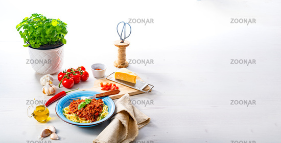 Delicious spaghetti bolognese on white background